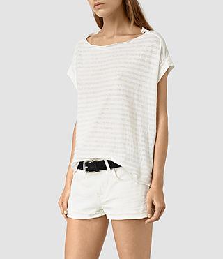 Mujer Pina Stripe Tee (CHLK WHT/CHLK WHT) - product_image_alt_text_3