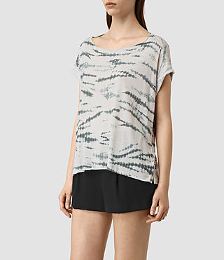Womens Pina Tye Tee (STONE GREY/BLUE) - product_image_alt_text_3