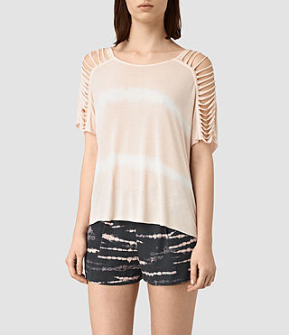 Womens Slash Shoulder Tie Dye Top (PINK/CHALK WHITE)