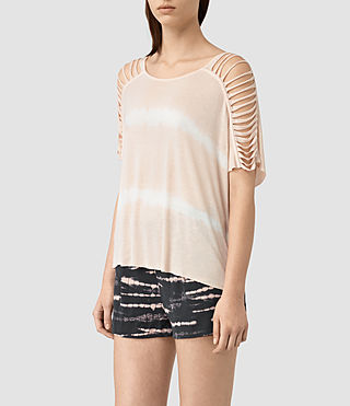 Mujer Slash Shoulder Tie Dye Top (PINK/CHALK WHITE) - product_image_alt_text_3