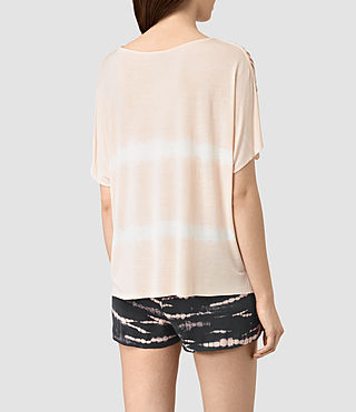 Mujer Slash Shoulder Tie Dye Top (PINK/CHALK WHITE) - product_image_alt_text_4