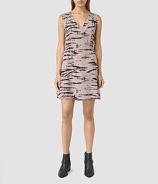 Mujer Ille Tye Silk Dress (Pink/Black) - product_image_alt_text_3