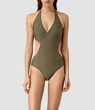 Womens Aurie Swimsuit (Khaki Green) - product_image_alt_text_2