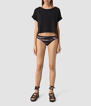 Mujer Soma Tye Bikini Bottom (BLACK/PINK)