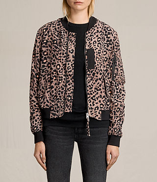 Womens Ella Lyos Silk Bomber Jacket (BLUSH PINK)