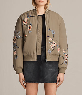 Womens Margot Embroidered Bomber Jacket (Light Khaki Green) - product_image_alt_text_1