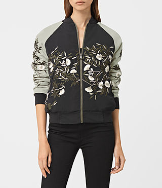 Womens Amarey Embroidered Bomber Jacket (BLK/CHAMPAGNE PINK) - product_image_alt_text_1