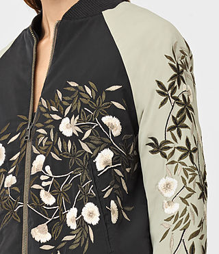 Mujer Amarey Embroidered Bomber Jacket (BLK/CHAMPAGNE PINK) - product_image_alt_text_2