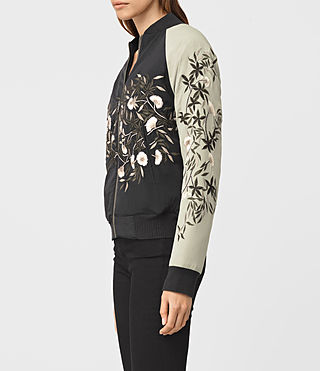 Mujer Amarey Embroidered Bomber Jacket (BLK/CHAMPAGNE PINK) - product_image_alt_text_3