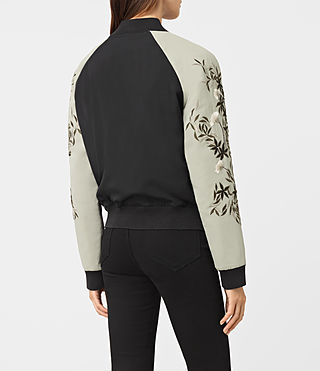 Mujer Amarey Embroidered Bomber Jacket (BLK/CHAMPAGNE PINK) - product_image_alt_text_4