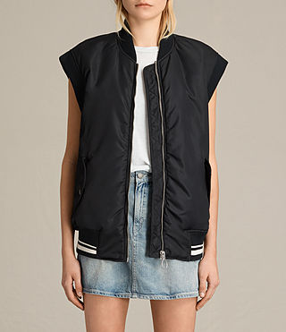 Womens Anika Gilet Bomber Jacket (Black)