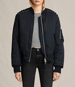 Womens Bree Laced Bomber Jacket (Ink Blue)