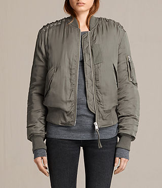 Womens Bree Laced Bomber Jacket (DARK SAGE GREEN)
