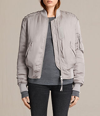 Womens Bree Laced Bomber Jacket (ALMOND PINK)