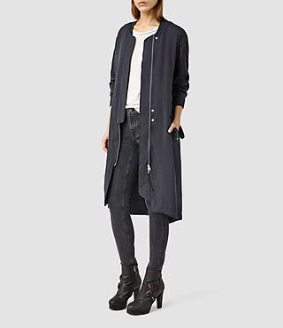 Womens Elio Bomber Parka Coat (Ink Blue) - product_image_alt_text_1