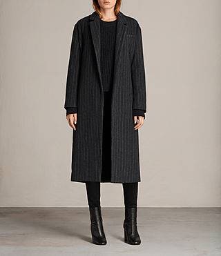 Damen Sienna Stripe Coat (Charcoal Grey) -