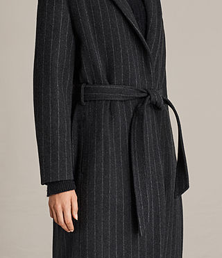 Mujer Sienna Stripe Coat (Charcoal Grey) - product_image_alt_text_2