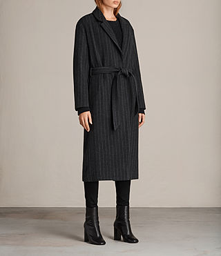 Mujer Sienna Stripe Coat (Charcoal Grey) - product_image_alt_text_3