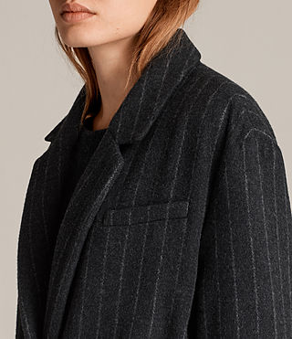 Mujer Sienna Stripe Coat (Charcoal Grey) - product_image_alt_text_4