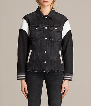 Womens Vintage Baseball Trucker Jacket (Washed Black) - product_image_alt_text_1