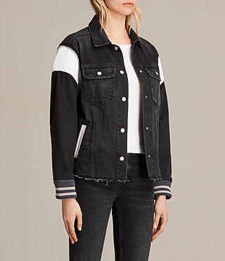 Womens Vintage Baseball Trucker Jacket (Washed Black) - product_image_alt_text_3