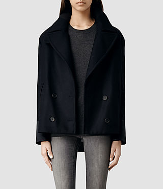 Womens Ishi Pea Coat (Ink)