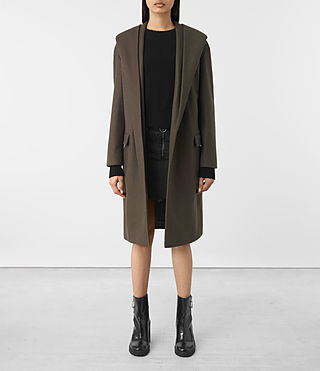 Womens Scala Coat (Khaki Green) - product_image_alt_text_1