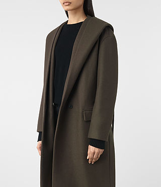 Women's Scala Coat (Khaki Green) - product_image_alt_text_2
