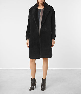 Womens Nola Shearling Coat (Black) - product_image_alt_text_1