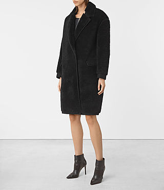 Women's Nola Shearling Coat (Black) - product_image_alt_text_2