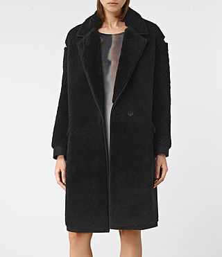 Women's Nola Shearling Coat (Black) - product_image_alt_text_3