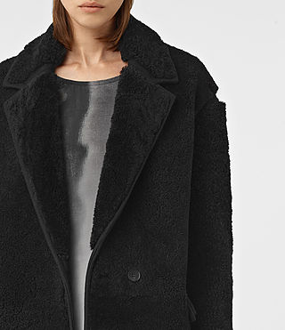 Women's Nola Shearling Coat (Black) - product_image_alt_text_4