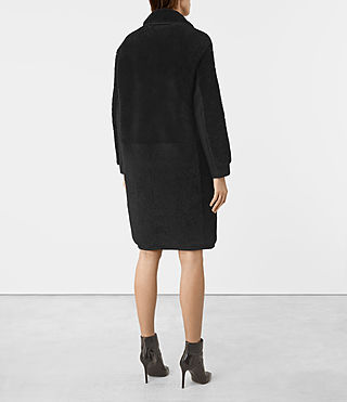 Women's Nola Shearling Coat (Black) - product_image_alt_text_5
