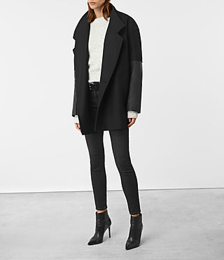 Mujer Meade Lea Coat (Black) - product_image_alt_text_4