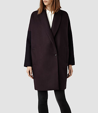 Womens Klein Contrast Coat (Deep Burgundy)