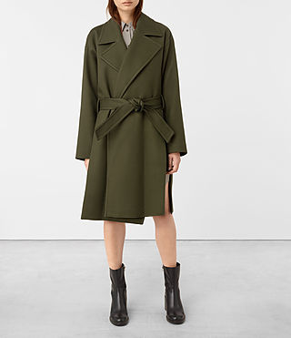 Womens Indira Penza Coat (Khaki Green) - product_image_alt_text_1