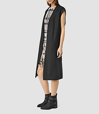 Womens Bound Sleeveless Coat (Black)