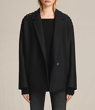 Womens Ada Laced Short Coat (Black) - product_image_alt_text_1