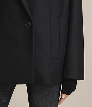 Womens Ada Laced Short Coat (Black) - product_image_alt_text_3