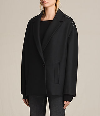 Womens Ada Laced Short Coat (Black) - product_image_alt_text_4