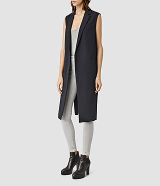 Womens Taro Kuma Sleeveless Coat (Ink Blue)