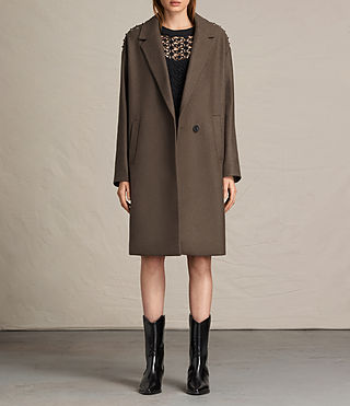 Womens Ada Laced Coat (Khaki Green) - product_image_alt_text_1