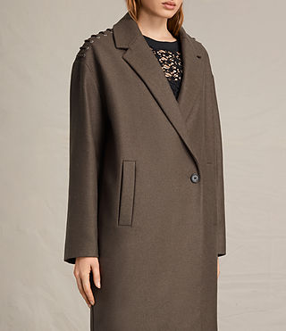 Womens Ada Laced Coat (Khaki Green) - product_image_alt_text_3