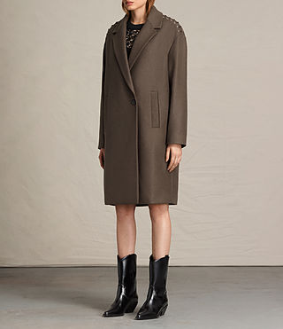 Womens Ada Laced Coat (Khaki Green) - product_image_alt_text_4
