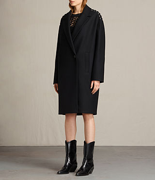 Women's Ada Laced Coat (Black) - product_image_alt_text_4