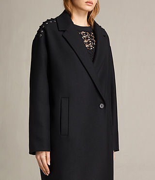 Womens Ada Laced Coat (Black) - product_image_alt_text_5