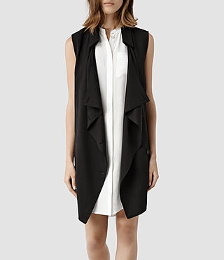 Womens Hestia Sleeveless Trench Coat (Black)