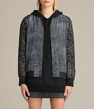Mujer Amy Skies Silk Bomber Jacket (Grey) - product_image_alt_text_2