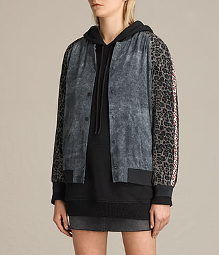 Mujer Amy Skies Silk Bomber Jacket (Grey) - product_image_alt_text_4