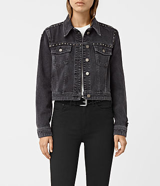 Womens Zita Studded Denim Jacket (Washed Black)